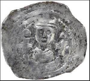 5 Strieborný friesachský fenig 1240 - 1246 (foto M. Samuel)