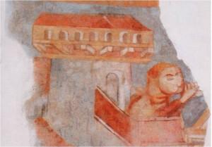 5 Freska z 13. stor. v kostole v Horných Krškanoch, údajne zobrazenie Zoborského kláštora (foto D. Magula)